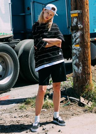 フルークストライプオーバーフィットレイヤード半そでTシャツFOT017C507
